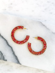 Festive Glitter Hoop Earrings - Red