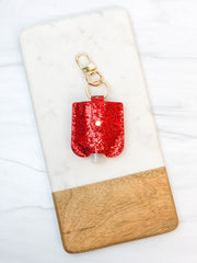 Hand Sanitizer/Air Pod Case Key Chain - Red Glitter