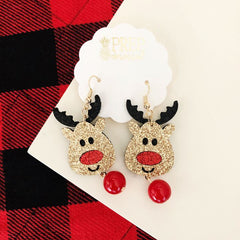 Reindeer Glitter Dangle Earrings