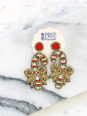 Rhinestone Beaded Candy Cane Earrings