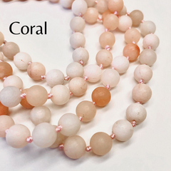 Riley Semi Precious Long Beaded Necklace - Coral