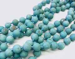 Riley Semi Precious Long Beaded Necklace- Turquoise