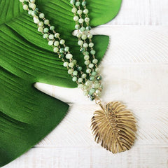 Rosaleen Palm Leaf Beaded Statement Necklace