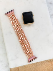 Stretch Beaded Bracelet Watch Band - Matte Rose Gold