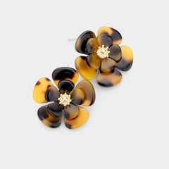 Tortoise Bloom Flower Stud Earrings
