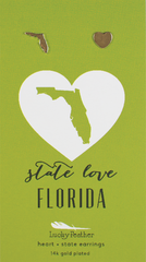 State Love Earrings in Gold - Florida