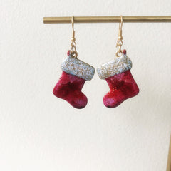 Glitter Christmas Stocking Dangle Earrings