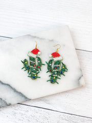 Beaded Christmas Hat Cactus Beaded Dangle Earrings
