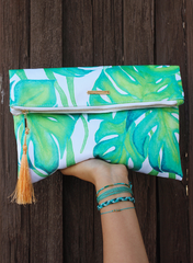 Palm Foldover Tassel Clutch by Pura Vida