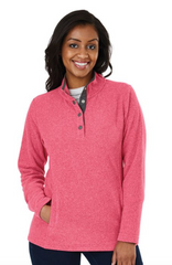 Bayview Fleece Pullover in Red/Charcoal
