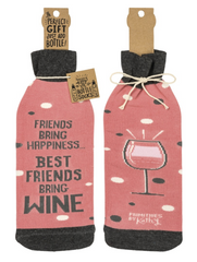 'Friends bring happiness' Wine Bottle Bag by PBK