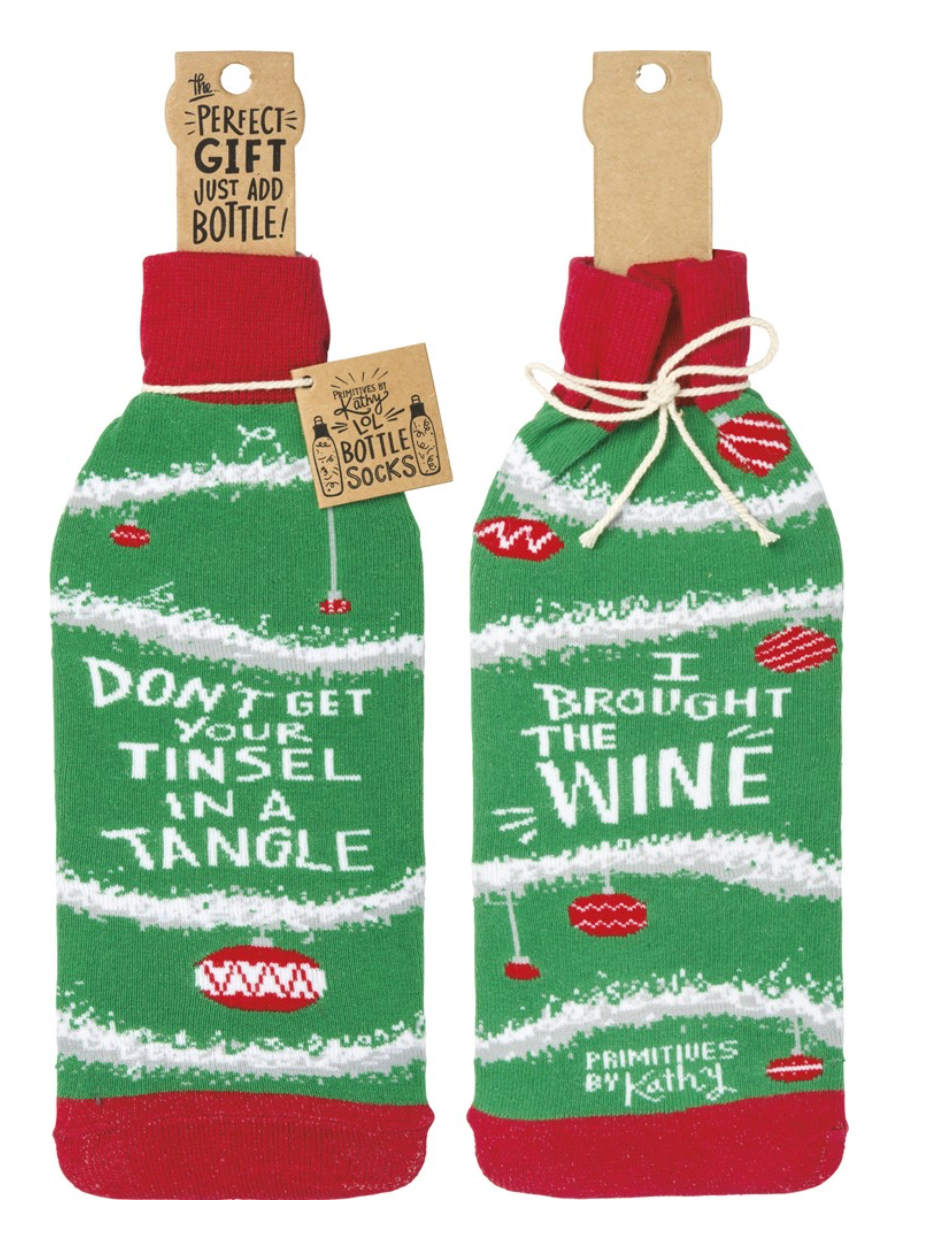 dont get your tinsel in a tangle i brought the wine christmas bottle cover gift