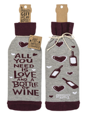 All you need is love and a bottle of wine bottle gift bag by Primitives by Kathy