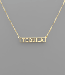 'Tequila' Brass Bar Necklace