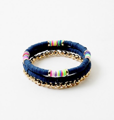 Toby Beaded Stretch Bracelet Stack - Navy