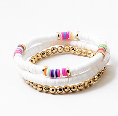 Toby Beaded Stretch Bracelet Stack - White