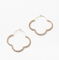Gold Clover Hoop Earrings