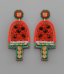 Watermelon Popsicle Seed Bead Earrings