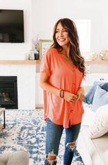 Button-Down Comfort In Coral (Ships in 1-2 Weeks)