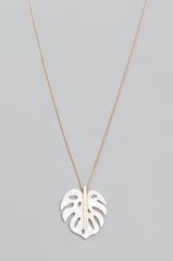 Monstera Leaf Pendant Necklace