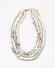 Neutral Beaded Multi Strand Statement Necklace