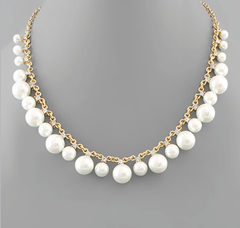 Graduate Pearl Link Necklace - Gold