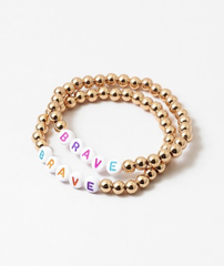 'Brave' Beaded Stretch Bracelet