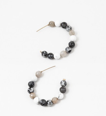 Billie Stone Beaded Hoop Earring - Gray