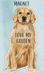 'Love My Golden Retriever' Dog Magnet by PBK