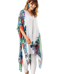 Savanna Bright Tropical Floral and Leaf Print Kimono