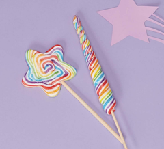 Rainbow Stars and Unicorns Mixed Berry Lollipops