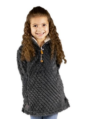 Youth Dark Gray Mermaid Sherpa Pullover by Simply Southern