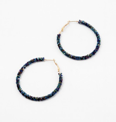 Karissa Navy Beaded Hoop Earrings