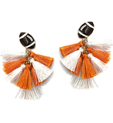 Football Tassel Dangle Earrings - Orange/White