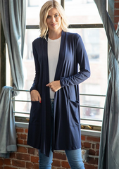 Slouchy Pocket Open Cardigan - Navy