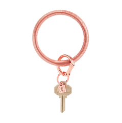 Big O Leather Key Ring - Solid Rose Gold Croc