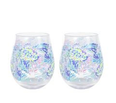 Acrylic Wine Glass Set by Lilly Pulitzer - Shell Of A Party