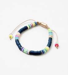 Gwendolyn Adjustable Rubber Beaded Bracelet - Navy