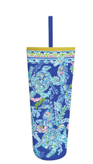 Acrylic Tumbler with Straw by Lilly Pulitzer - Turtle Villa