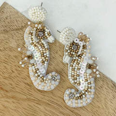 Seahorse Beaded Dangle Earrings - White