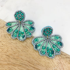 Sea Shell Beaded Statement Earrings - Turquoise