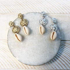 Laila Shell Dangle Earrings - Choice of Color