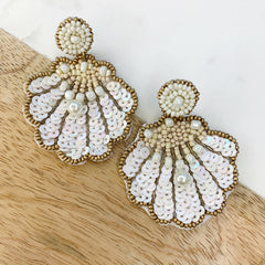 Paige Shell Sequin Dangles - White