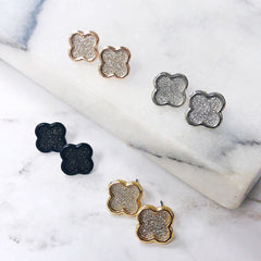 Final Sale: Sara Sparkling Clover Studs - Gold, Silver, Rose Gold, or Black