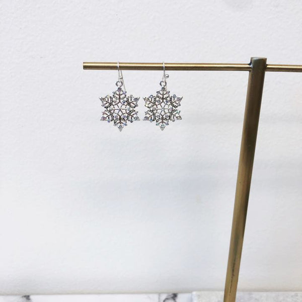 Silver Snowflake Dangle Earrings Prep Obsessed