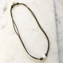 Lesa Single Pearl Leather Necklace
