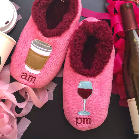 Snoozies Coffee and Wine Slippers