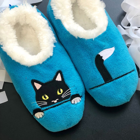 Peek-A-Boo Cat Snoozies Slippers