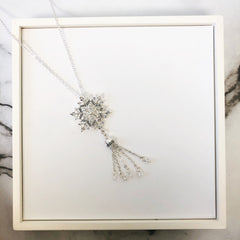 Silver Snowflake Tassel Necklace