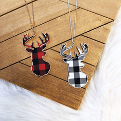 Buffalo Check Stag Head Pendant Long Necklace